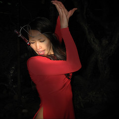 Performance Art  in Red (NaPix -- (Time out)) Tags: life red portrait woman art love face night happy dance artist nightshot performance vietnam explore hanoi journalism canonpowershot aodai explored flickrsbest a640 napix daoanhkhanh longbiengialamhanoi vietnamsbestknownperformanceartist