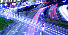 City Lights (John McBride) Tags: light trafficlights cars night canon lights scotland blog cross traffic motorway glasgow trails 8 headlights freeway charing m8 streams interstate beams citycentre brakelights stgeorgescross charringcross 1000d canon1000d