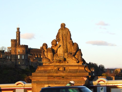 statues at sunset