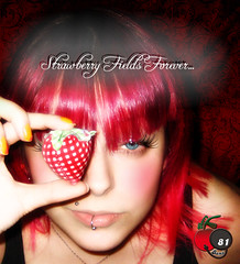 Strawberry Fields FOREVER (Cherry Bomb 81) Tags: pink blue red portrait orange selfportrait love hairdye make up self vintage hair cherry is eyes strawberry all you song amor background makeup rosa maquiagem lips piercing vermelho nails musica monroe need fields beatles forever patchwork dye bomb morango cereja cabelo arabesque dyedhair colorido orangenails redbackground strawberryfieldsforever vintagebackground piercingmonroe