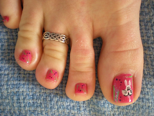 Bunny Easter Toes nail art Design