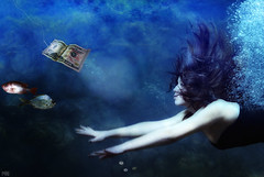Tribute to Nirvana (Poe Tatum) Tags: blue music woman money cold wet water girl beautiful female photoshop dark lyrics underwater kurt cobain nirvana alt tribute 50 poe dripping fiddy alternative soaked fifty lithium teenspirit digitalcameraclub flopsie graphicmaster nirvanatribute