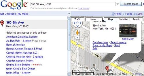 Empire State Building address search in Google Maps