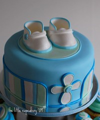 Christening Cake Close-up (TheLittleCupcakery) Tags: blue boy baby tower cake cross little monogram cupcake christening booties tlc cupcakery xirj klairescupcakes