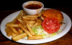 Sloppy Jose' and fries (super Nom!) at Dora's Mexican restaurant (Scorpions and Centaurs) Tags: trip vacation food holiday cheese dinner tomato lunch restaurant colorado frenchfries denver mexican aurora meal dining local doras hamburgerbun greenchile shreddedbeef sloppyjose