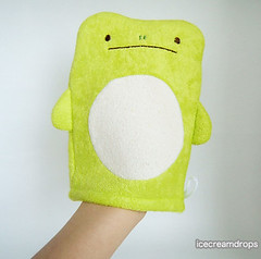 Frog Animal Body wash mitten sponge puppet plush-japanese kawaii cute bath