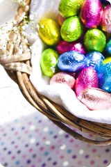 Happy Easter (Michelle in Ireland) Tags: light color colour colors easter colours basket bright chocolate blues greens eggs yellows pinks babysbreath eggsinabasket pralin happyeastereveryone