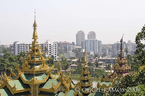yangon skyline from shwedagon