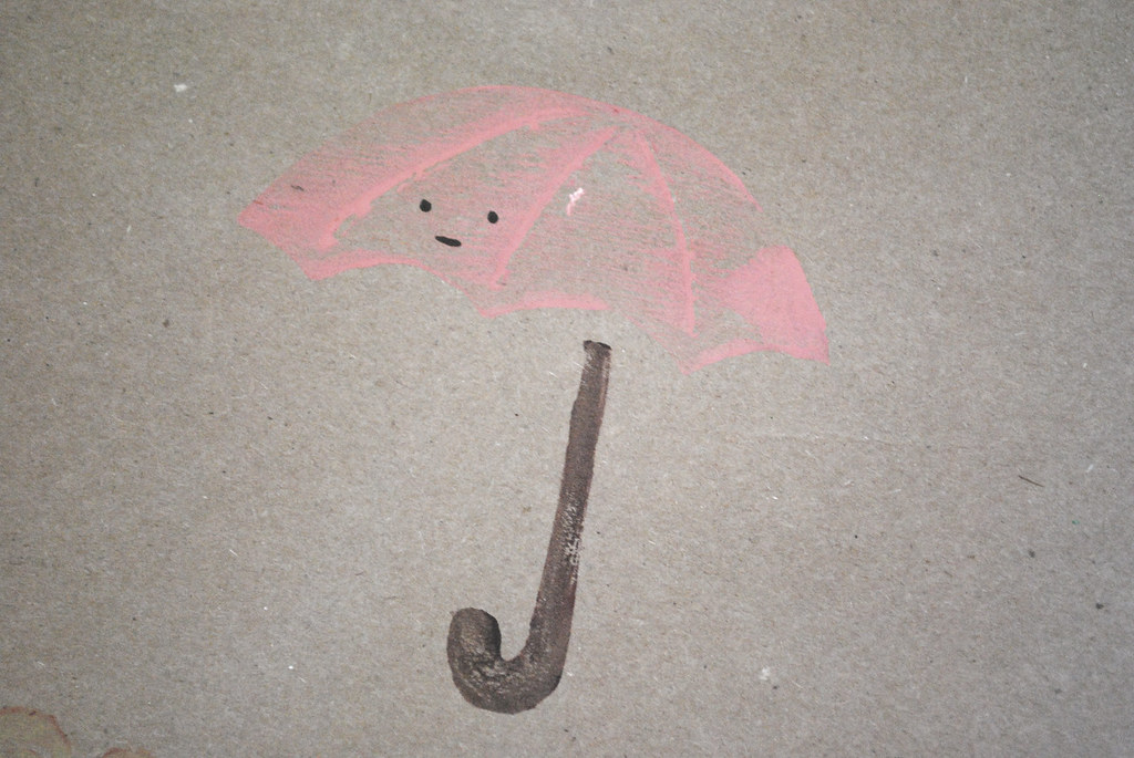 umbrella on kraft paper