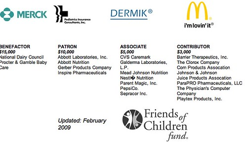 AAP sponsor page screenshot - formula and pharmaceutical companies, mcdonald's, pepsi, etc