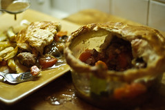 Wild boar pie and roasted parsnips