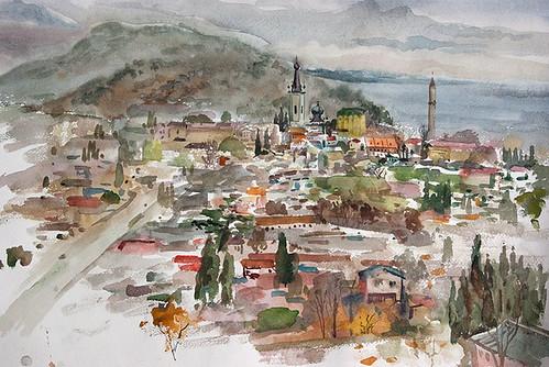 панорама Алушты в дождливый день
