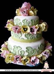 tulip wedding cake (ArtisanCakeCompany) Tags: birthday pink wedding green cake oregon gum portland shower three cupcakes tulips paste weddingcake sugar special bakery salem occasion grooms artisan tier keizer bakeries fondant artisancakecompany
