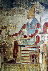 Horus - Temple of Seti I (Riley and Amos) Tags: photoshop temple religion egypt horus mythology wallpainting ancientegypt abydos setii templeofsetii devotionaloffering