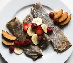 Cottage Cheese  Crepes with Fresh Fruit (monica.shaw) Tags: food fruit cheese pancakes breakfast recipe dessert berries plum strawberries banana bananas crepes raspberries buckwheat cottagecheese fooddiary