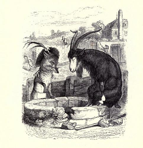 014- El zorro y el macho cabrio-Fabulas La Fontaine-J.Grandville