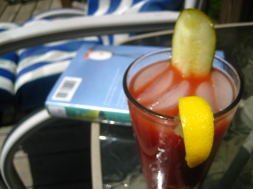 my bloody mary reads a book.