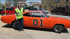 "Eddie K posing by the Dukes of Hazzard ""General Lee"" TV show car stand in. Chicago Illinois. April 2009."
