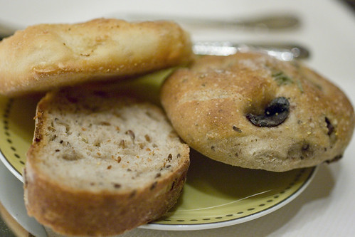 three seed, olive, garlic breads