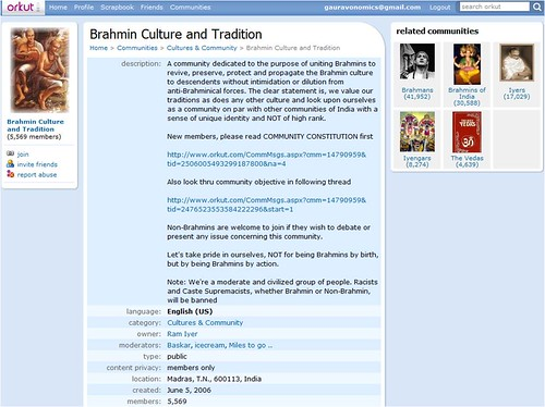Orkut Caste based Brahmin Community