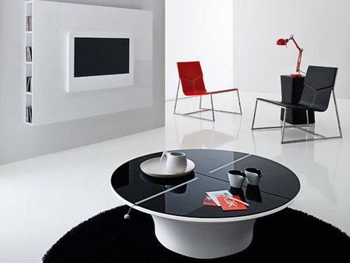 You can see combination red and black chair integrated in white living room