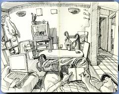 drawing the living room (paul heaston) Tags: blackandwhite art moleskine notebook sketch artwork drawing journal sketchbook penandink