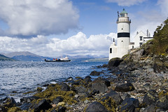 Cloch Lighthouse - River Clyde - Gourock - Scotland (Gavin Ritchie) Tags: uk lighthouse beach stone ferry river scotland clyde greenock boat ship britain pebbles boulders filter nd grad gourock graduated density caledonian the neutral macbrayne carferry