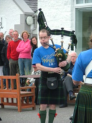 Lochboisdale hotel - Pipe Major Laing plays the pipes (The Pipers Trail) Tags: drumming piping uist lochboisdale thepiperstrail piperstrailpics2009 aberdeenotc