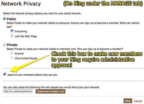 Network Privacy - Make new Ning members require admin approval