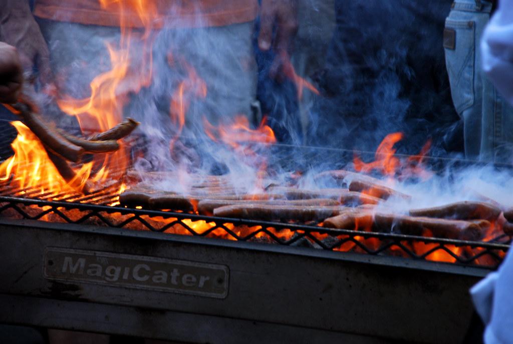 merguez sausages...on fiyah!!....