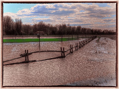 Water along the Fence (jta1950) Tags: bw lake reflection water rural fence reflections mirror countryside flooding flood country panasonic lakechamplain colorization lx5 dmclx5