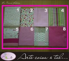 Tecido - ROSA (Arte coisa & tal.. By Simone Ribeiro) Tags: floral patchwork poa ramos letras xadrez listrado