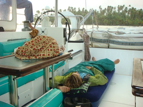 Sleeping on the deck on the sailing boat...