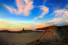 Earth and Sky (rbsuperb) Tags: pink blue sky orange rock stone clouds sand desert explore doha qatar somethingelse earthandsky explored qatardesert vosplusbellesphotos mesaiedqatar rbsuperb richardsupera