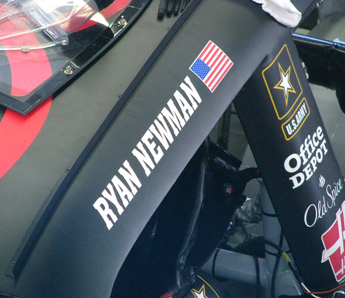 Ryan Newmans Impala sits in his garage stall at LVMS