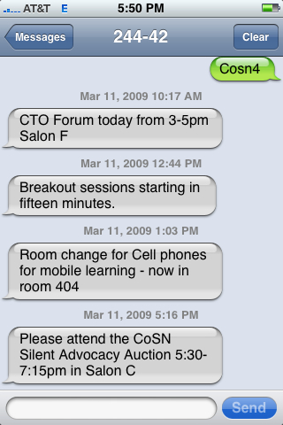 CoSN09 Conference SMS Message Updates