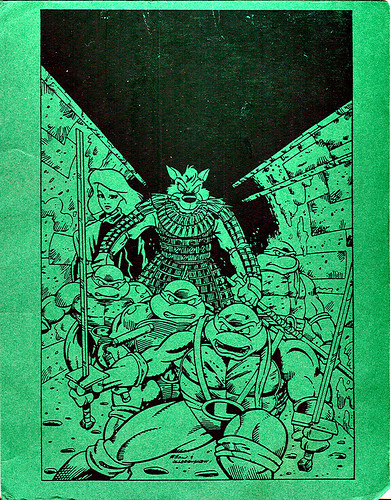 "TMNT Adventures ""Turtle Tracks"" { TMNT A #31 } post card to tOkKa .. art by Chris Allan, Rod Ollerenshaw   (( 21, February 1993 ))"