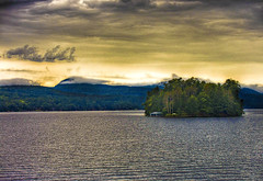 In Solitude... (darth_bayne) Tags: newyork mountains water island 50mm lakegeorge hdr darkclouds boatride canon350 darthbayne