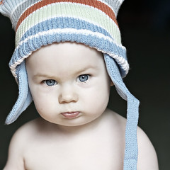 (mslori411 (Flickr break)) Tags: blue boy evan portrait baby white cute hat blueeyes naturallight desaturated karma digitalrebelxt babyboy catchlight fromthearchives thursdayschild babyportrait 11monthsold 85mm18 explored childrensplacehat