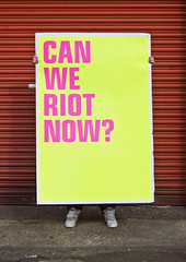 Can We Riot Now? | Scott King (bobeightpop) Tags: yellow poster screenprint fineart large magenta fluorescents bep processes finishes scottking bobeightpop scottkingprojects canweriotnow dualcoteduo 1500mmx1000mm
