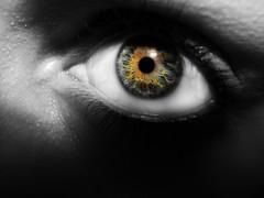 Sun in my eyes (Kaboomish Gem) Tags: white black eye face yellow photoshop grey sunburst gem kaboomish