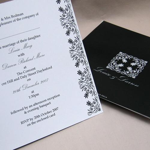 Victoriana black wedding invitation from mini Moko, Victoriana black Wedding invitation idea, wedding invitation sample, wedding invitation, flowers, photos