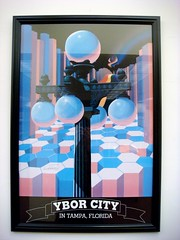 Ybor City in Tampa Florida (xvm) Tags: abstract vintage poster streetlight library retro conceptual hexagons honeycomb lightpost rainbowflag hcc yborcity