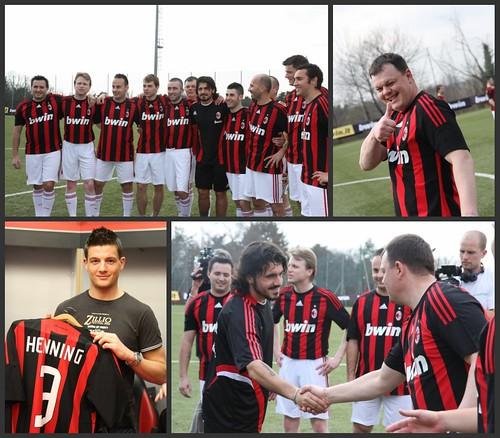 El Equipo entrenando con el AC Milan y saludando a Gatusso