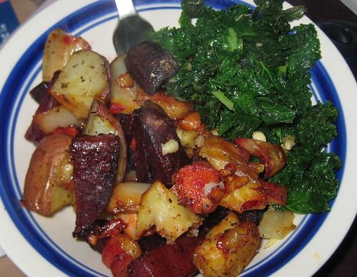root roast & sauteed kale