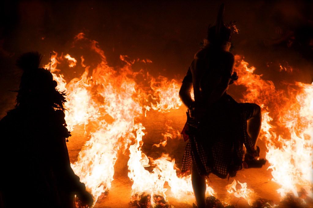Hanuman Dances Through Fire In Bali