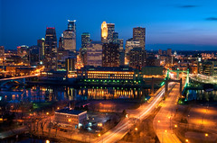 Downtown Minneapolis and the Hennepin Bridge (Greg Benz Photography) Tags: sunset photography minneapolis bluesky twincities downtownminneapolis hennepinbridge minneapolisskyline carbonsilver minneapolishdr