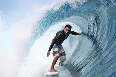 Dennis Tihara is having the best time surfing at Teahupoo, Tahiti. (cookiesound) Tags: ocean life trip travel b