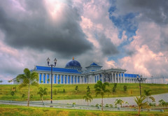 When dark clouds come and try to cover me (t2psalm) Tags: architecture photoshop canon interestingness interesting landscaping explore layer sunrays brunei hdr stormclouds gaussianblur bsb legislativebuilding photomatix flickrexplore explored eos450d samcorros t2psalm 13thexplore