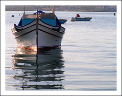 ~ Beautiful Sunday ~ (ANGELA.Clik.Flickr) Tags: sea reflection boat mediterranean sunday malta fishingboat mediterraneansea sunreflection fishingvillage marsaxlokk abigfave